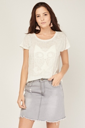 Embroidered Owl Front Speckled Top