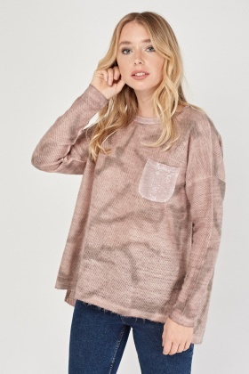 Faded Sequin Pocket Knit Pullover