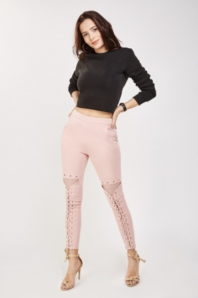 Lace Up Fishnet Skinny Trousers