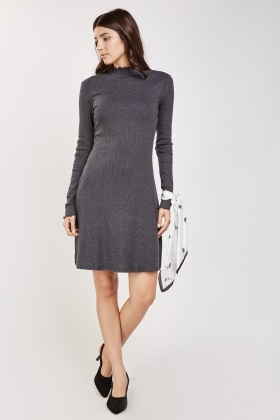 Long Sleeve Flared Rib Dress