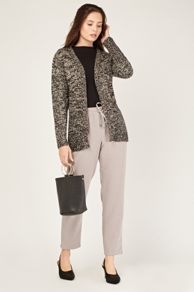 Long Sleeve Speckled Knit Cardigan