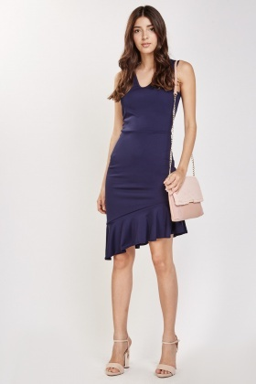 Sleeveless Asymmetric Peplum Dress