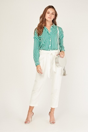 Belted Ankle Tapered Trousers