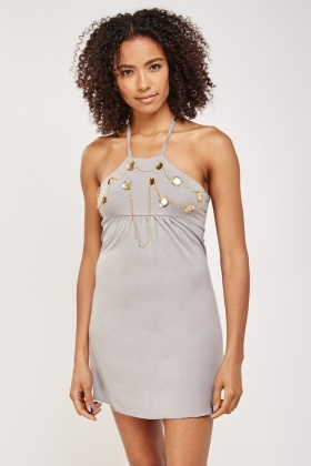 Chain Trim Halter Neck Dress