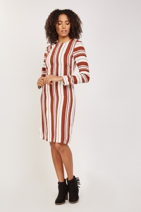 Contrasted Stripe Midi Dress
