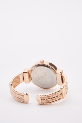 Encrusted Detailed Bangle Watch
