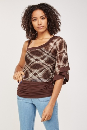 One Shoulder Metallic Knit Top