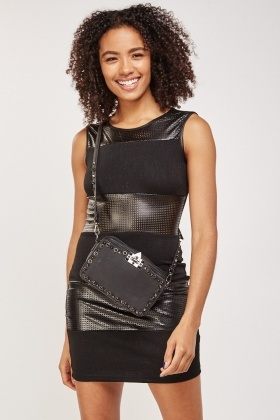 Perforated Faux Leather Mini Dress