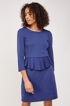 Pleated Midi Peplum Dress