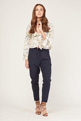 Slit Hem Tapered Trousers