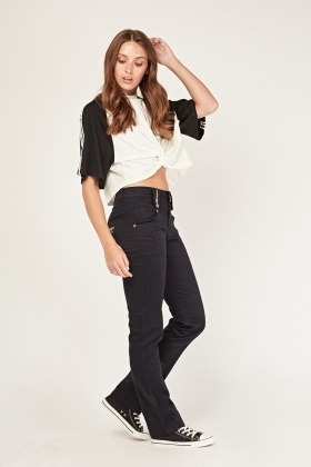 Straight Leg Zip Trim Jeans