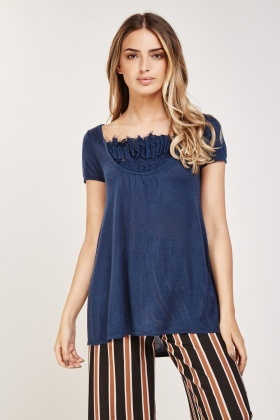 Bow Lace Back Knit Top