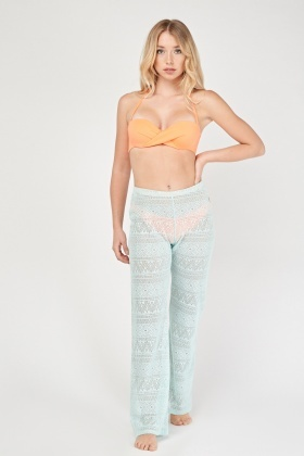 Crochet Boot Cut Cover Up Trousers