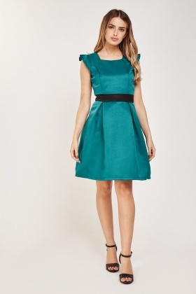 Pleated Cap Sleeve Skater Dress