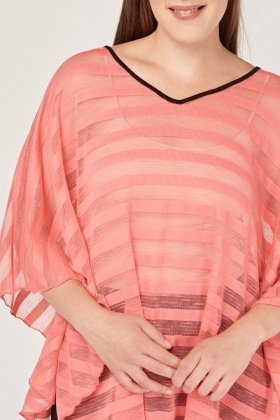 Striped Coral Mesh Overlay Top