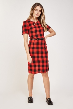 Woven Check Midi Dress