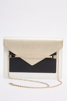 Detailed Contrast Clutch Bag
