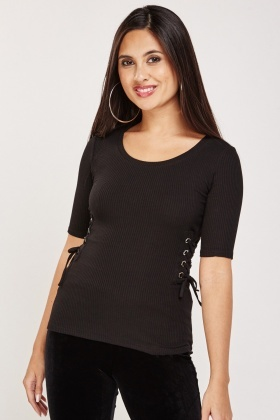 Lace Up Side Rib Top