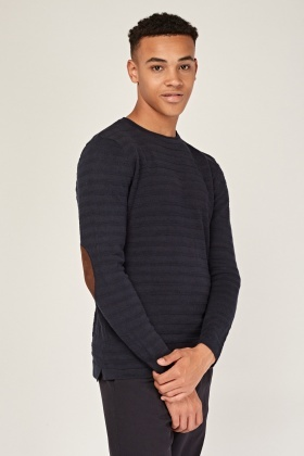 Ribbed Elbow Patch Jumper