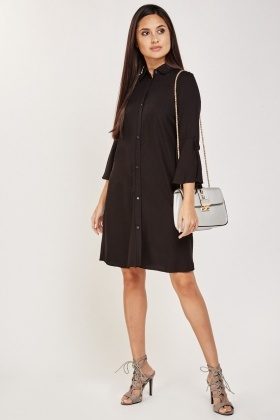Tie Up Bell Sleeve Shirt Dress