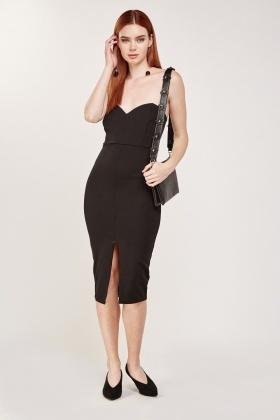 Bandeau Front Slit Midi Dress