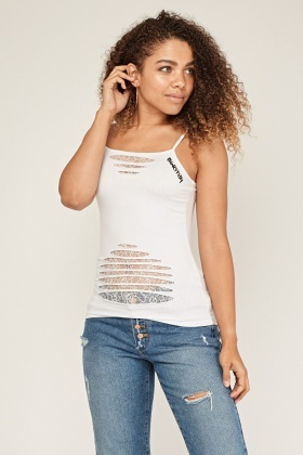 Cut Out Lace Overlay Cami Top