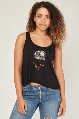 Cut Out Lace Skull Vest Top
