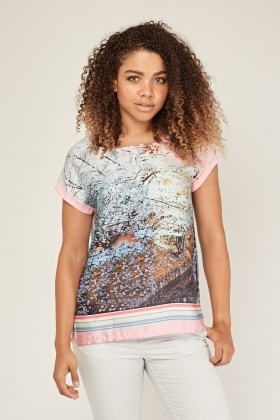 Digital Winter Forest Print Top