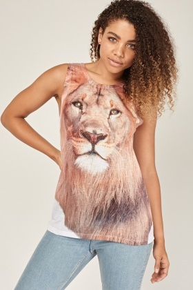 Encrusted Lion Print Vest Top