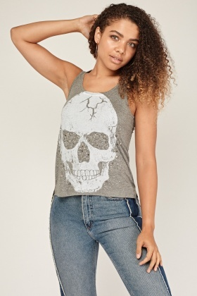 Encrusted Skull Print Speckled Vest