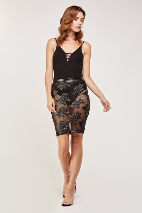 Mesh Laced PU Bodycon Skirt