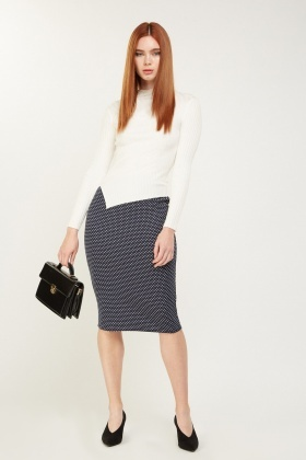 Polka Dot Midi Pencil Skirt