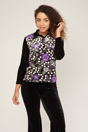 Printed Velveteen Collared Neck Top