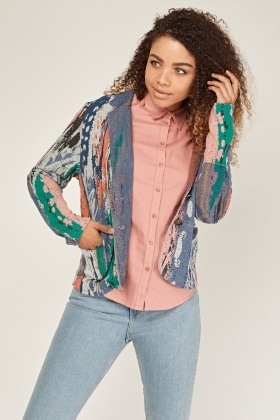 Textured Multi Coloured Print Blazer