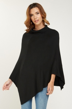 Turtle Neck Fine Knit Poncho