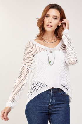 V-Neck Crochet Knit Jumper