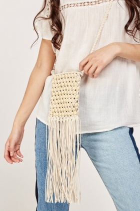 Beaded Rope Tassel Fringe Bag