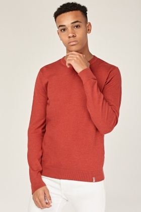 Dark Red Casual Pullover