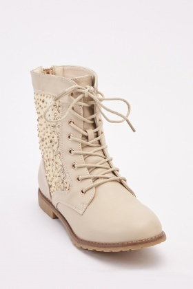 Encrusted Lace Overlay Biker Boots