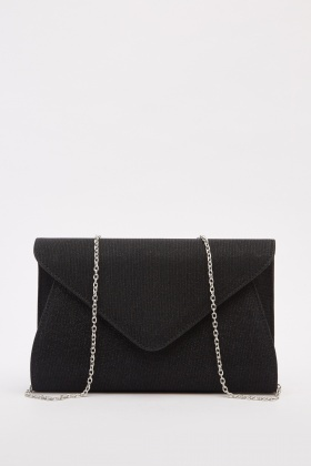 Shimmery Rib Envelope Clutch Bag