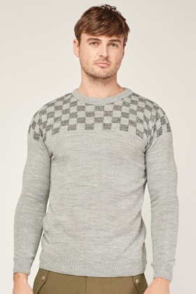 Contrasted Check Knitted Jumper