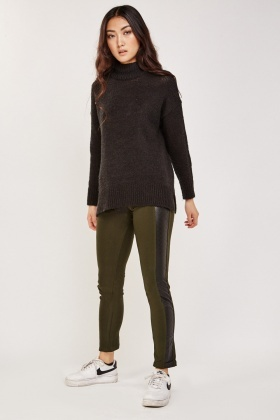 Embossed Faux Leather Side Leggings