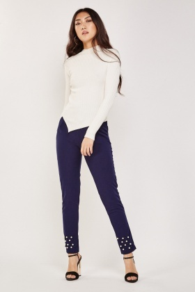 Faux Pearl Hem Tapered Trousers