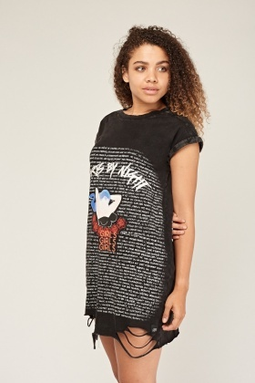 Graphic Front Distressed T-Shirt Dress