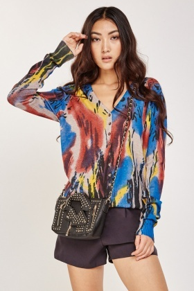 Multi Contrast Printed Knit Cardigan