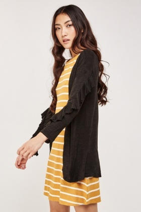 Ruffle Sleeve Trim Speckled Cardigan