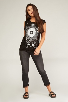 Astrology Sign Print Ripped Top