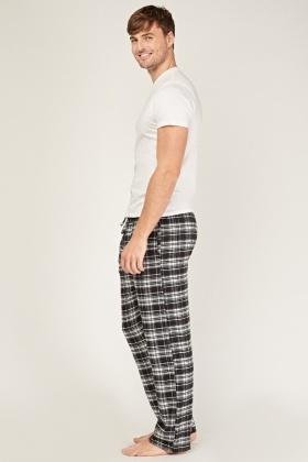 Black Checked Pyjama Trousers
