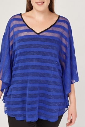 Contrast Mesh Striped Top