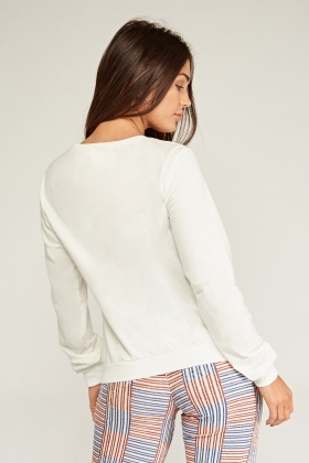Cut Out Distressed Sweatshirt